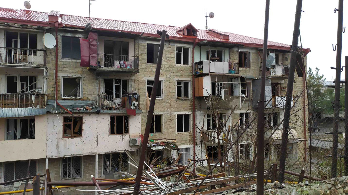 Struck Residential Building in Stepanakert City