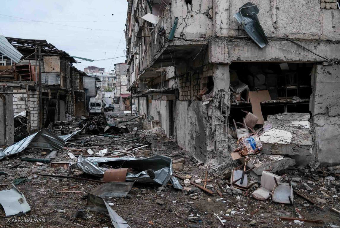 Residential Area in Stepanakert City After Shelling by Azerbaijan