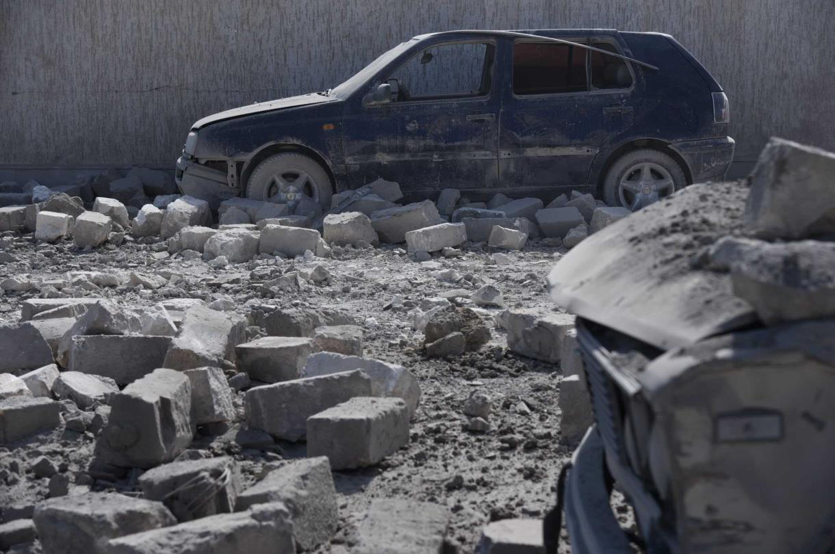 Damaged car in Stepanakert City as a Result of Shelling by Azerbaijan