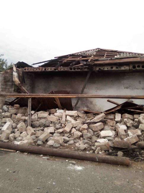 Damaged House in Ivanyan Village as a Result of Shelling by Azerbaijan