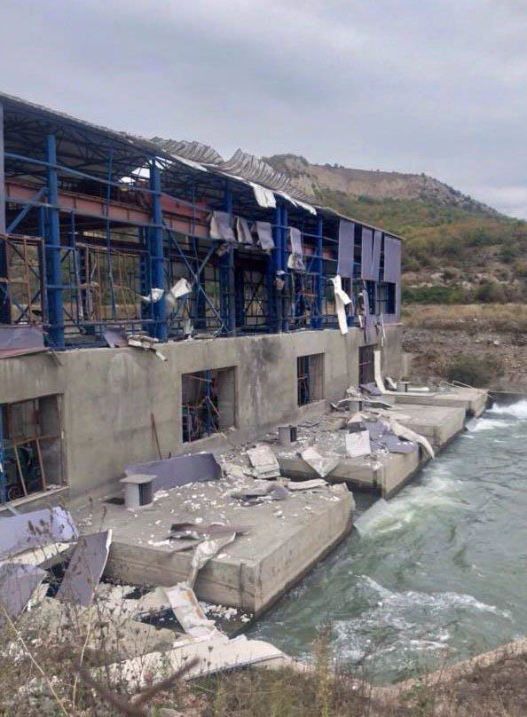 A Hydropower Station in Martakert Region after Being Struck by Azerbaijan