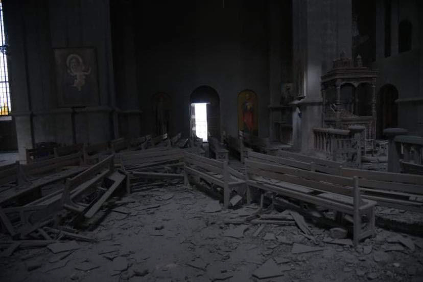 The Holy Savior Cathedral of Shushi After the Strike by Azerbaijan (interior)